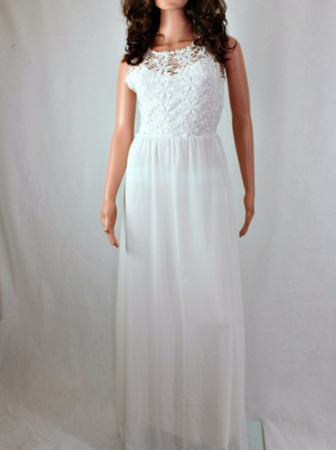 MAXI DRESS WITH LACE BODICE AND CHIFFON SKIRT.