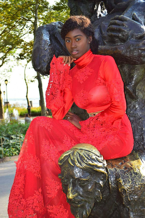 EMBELLISHED VOLUME SLEEVE RED STUNNER BY LENSHINA NCHAMI