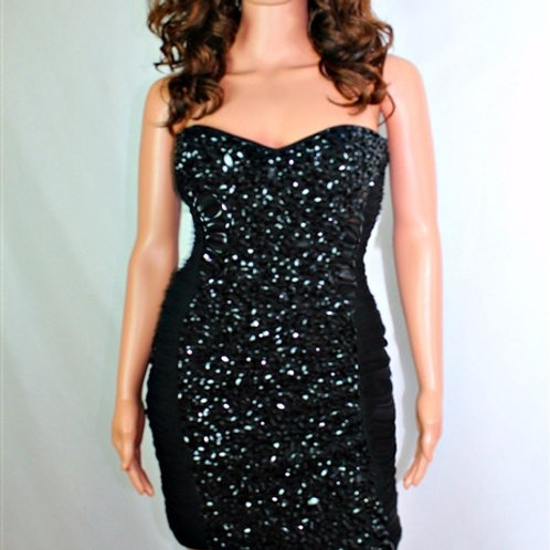 STRAPLESS BLACK SEXY DRESS WITH EMBELLISHMENT