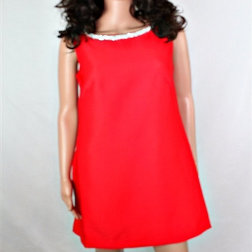 SHEATH DRESS WITH NECKLINE EMBELLISHMENT