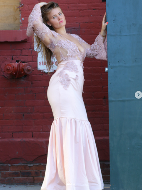 EMBROIDERED LACE DRESS BY LENSHINA NCHAMI