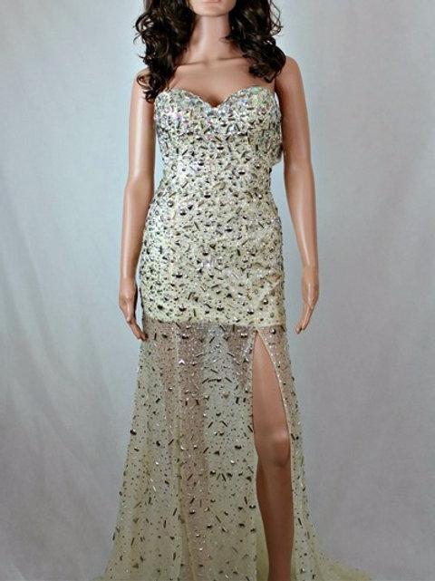 FULLY EMBELLISHED DRESS WITH FRONT SLIT