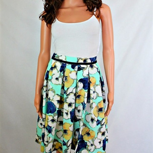 PRINTED SKIRT WITH BOX PLEATS