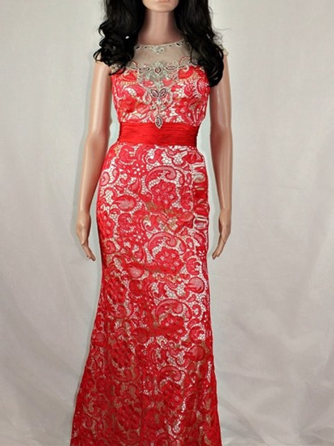 EMBELLISHED RED LACE DRESS