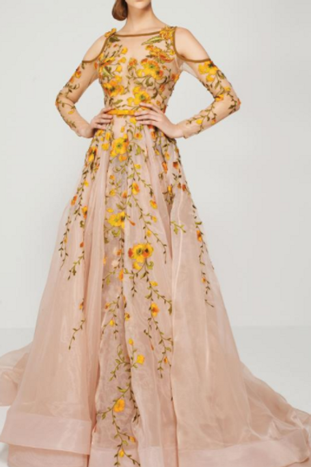 CLASSIC FLORAL ILLUSION EVENING GOWN