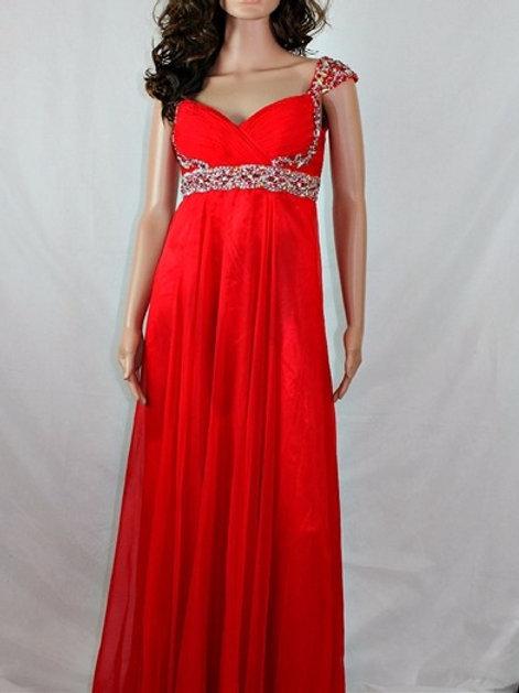 LONG RED CHIFFON DRESS WITH EMBELLISHMENT