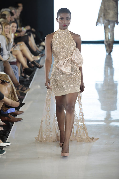 EMBELLISHED MINI DRESS WITH BACK TAIL BY LENSHINA NCHAMI