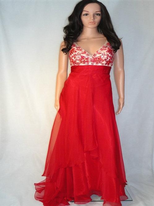 LONG RED CHIFFON DRESS WITH EMBELLISHED BODICE