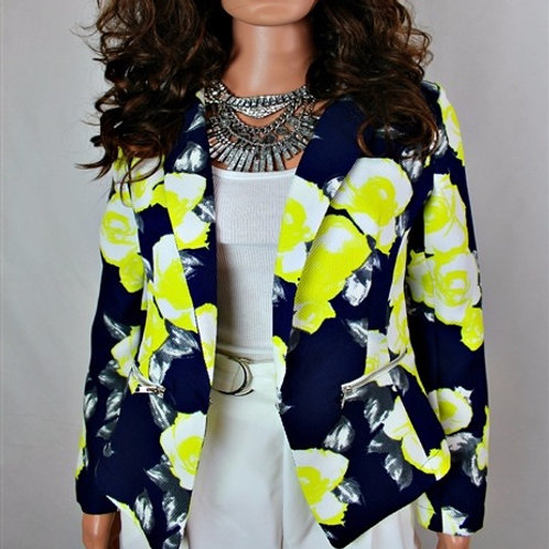PRINTED BLAZER WITH FAUX ZIP POCKETS