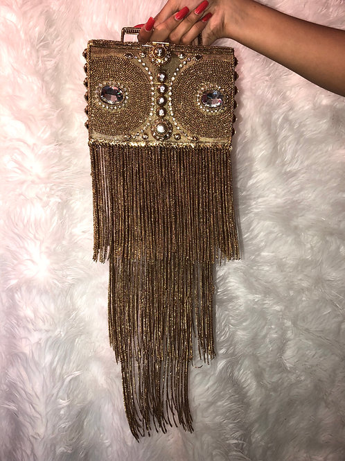 FRINGE GODDESS CLUTCH GOLD