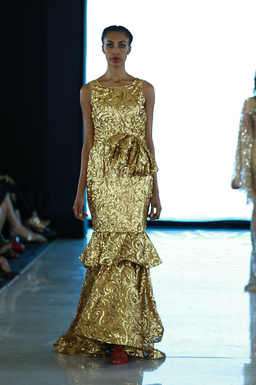 GOLD SEQUENCE DRESS WITH RUFFLE TIER BY LENSHINA NCHAMI