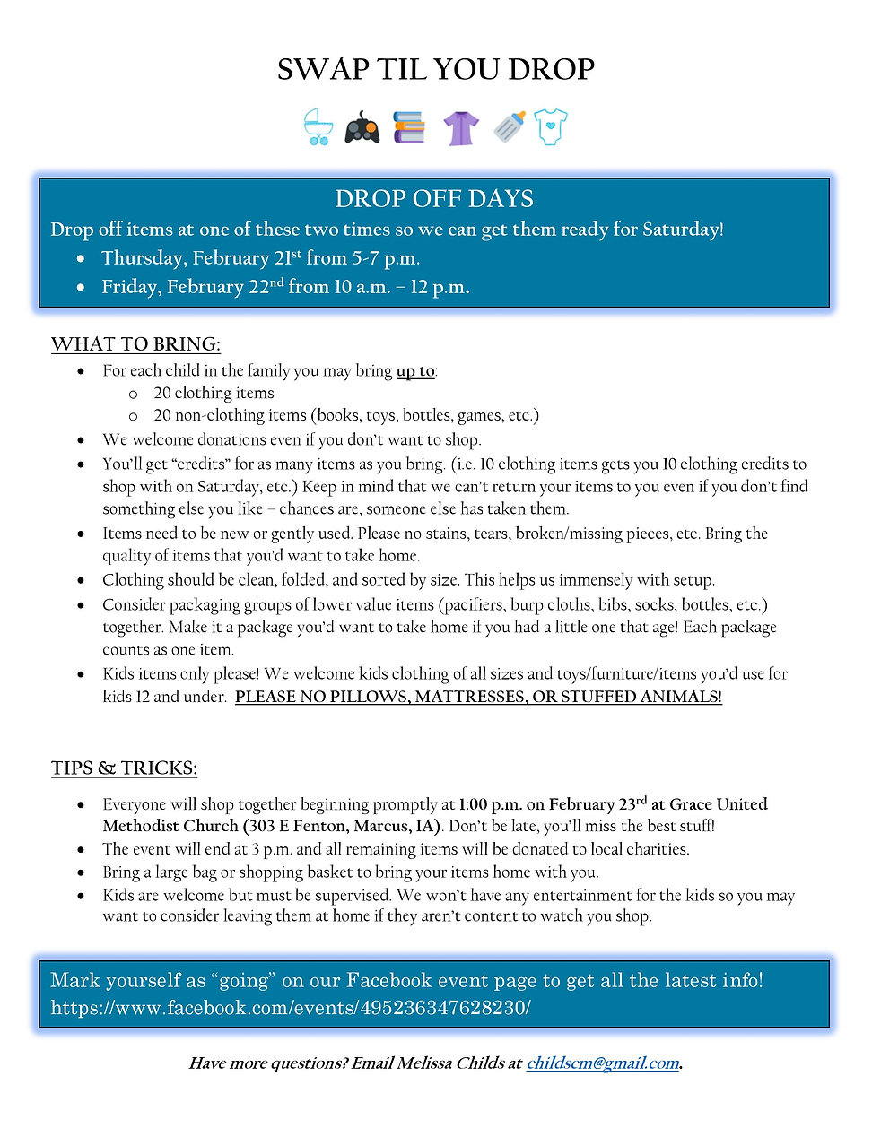 Swap Til You Drop Kids Guidelines - MMCR