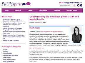 'Understanding the 'complete' patient: faith and mental health'