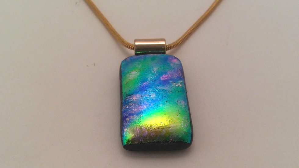 Greens and Gold dichroic necklace