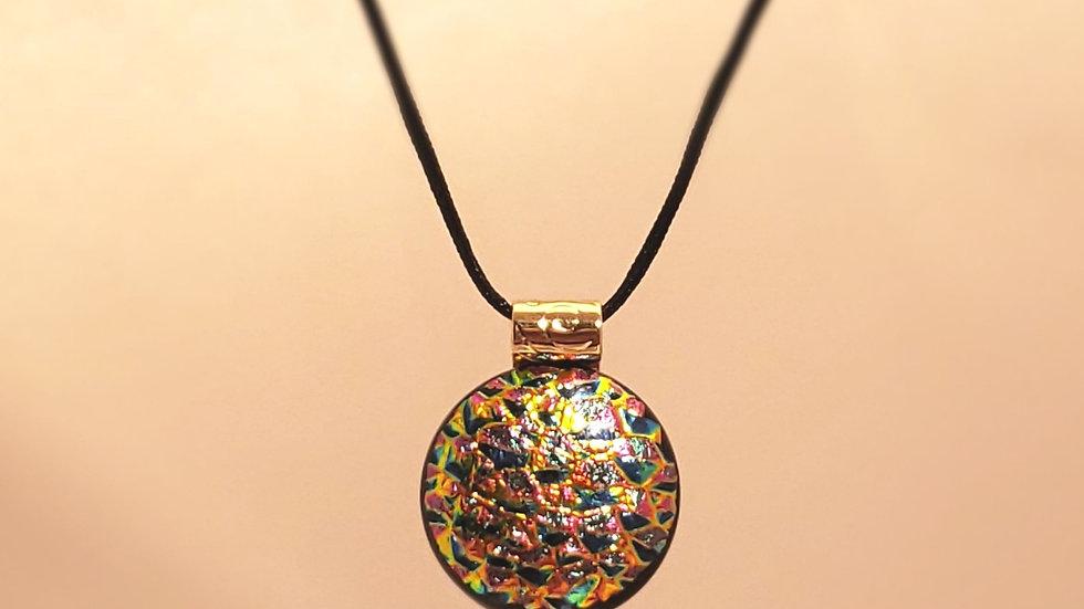 Fused glass textured pendant