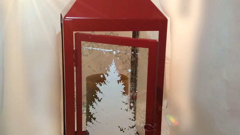Red winter scene lantern