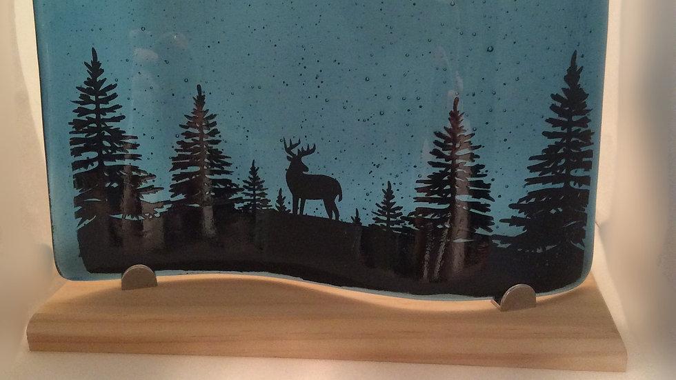 Winter deer scene in black