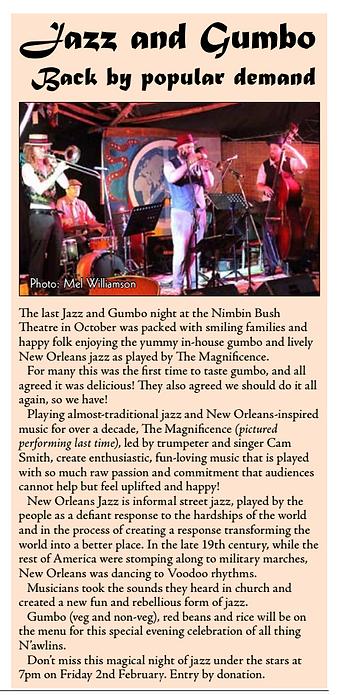 Magnificence, Lismore Jazz, Northern Rivers Jazz, Cameron Smith, Trumpet, Jazz, Nimbin Bush Theatre