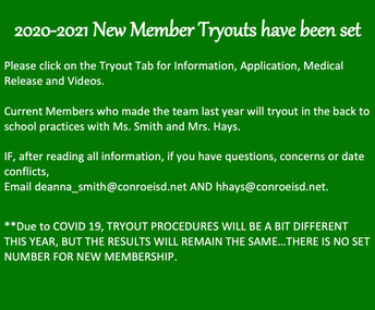 2020-2021 New Member Tryouts have been set