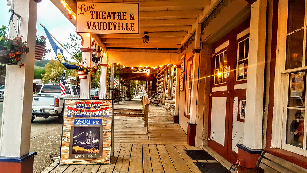 The old boardwalk in front of the vaudeville live theatre in Virginia City, Montana