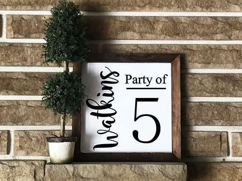 Last Name Party of Sign