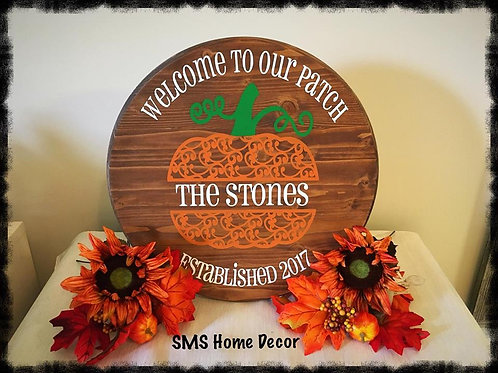 Pumpkin Wood Round - Welcome to our Patch