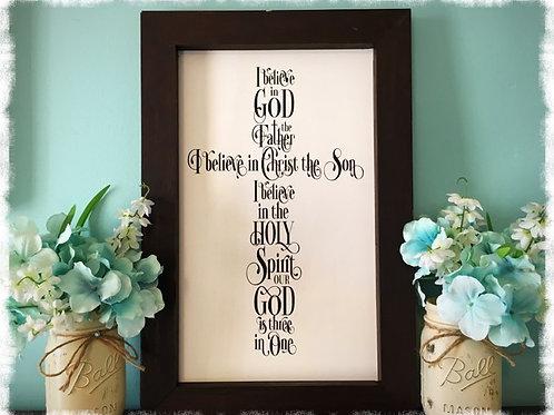 I Believe In God Cross - Framed Wood Sign