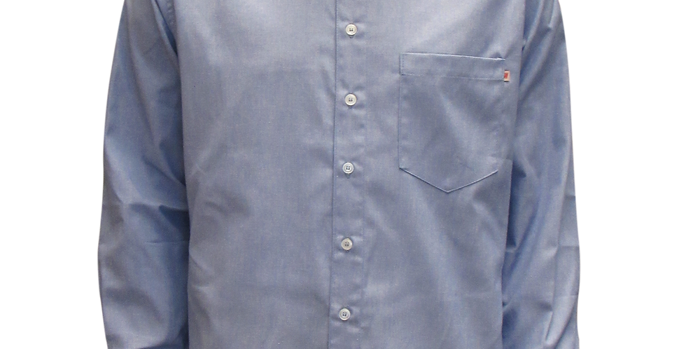 Camisa Social  Azul Mescla Azul M/L