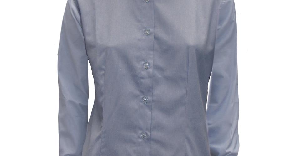 Camisa Social Feminina Mescla Azul M/L