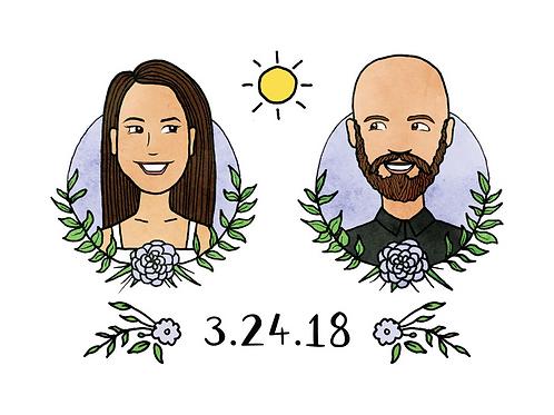 """Katie"" Illustrated Couple Portrait Print"