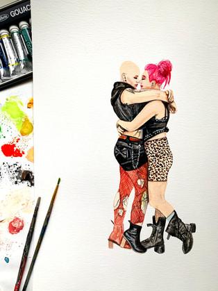Watercolor Couple Portait
