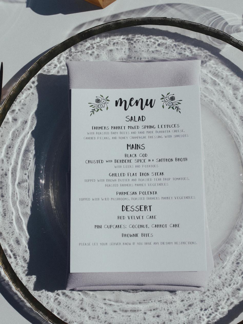 Plated Dinner Menu