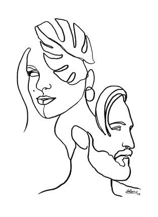 Line Art Couple Portrait