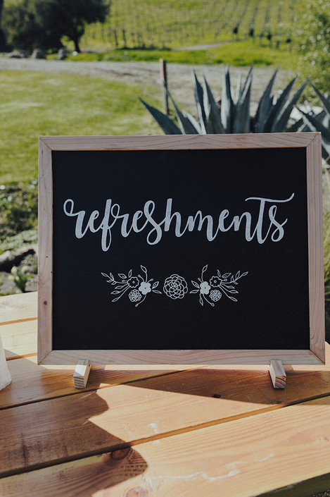 Hand-painted Refreshments Sign