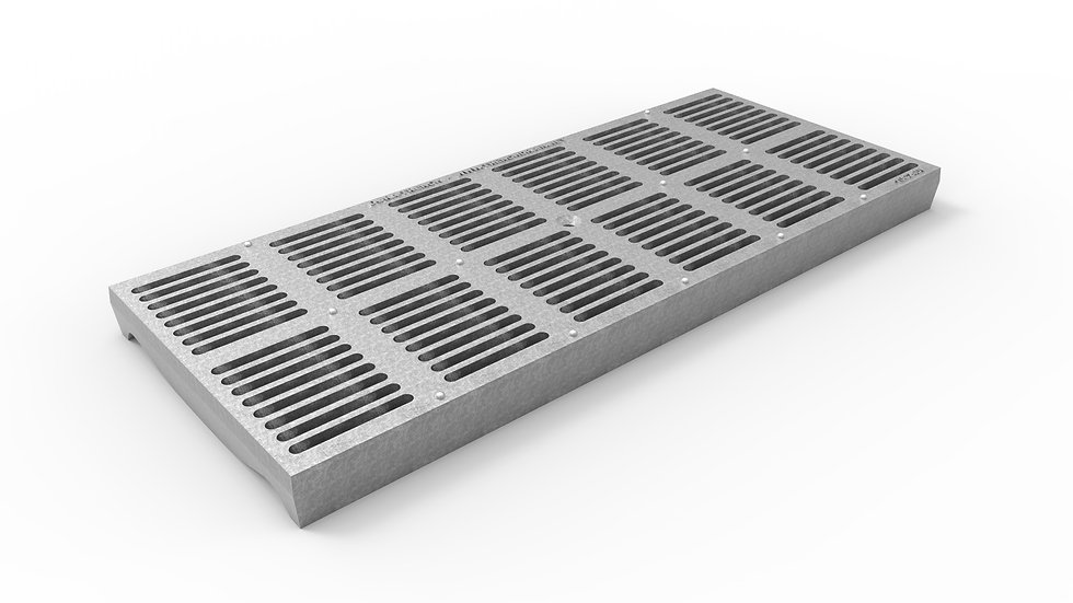 "10"" wide ADA/Heel Proof galvanized iron slotted trench drain grate"