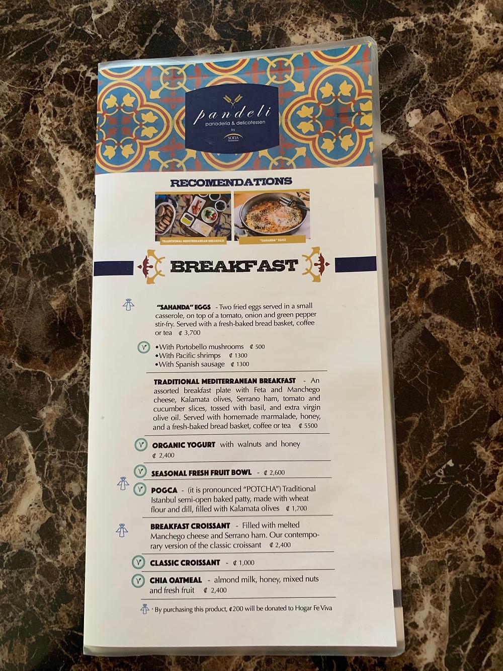 Pandeli Kafe'nin menüsünde Türk kahvaltısı