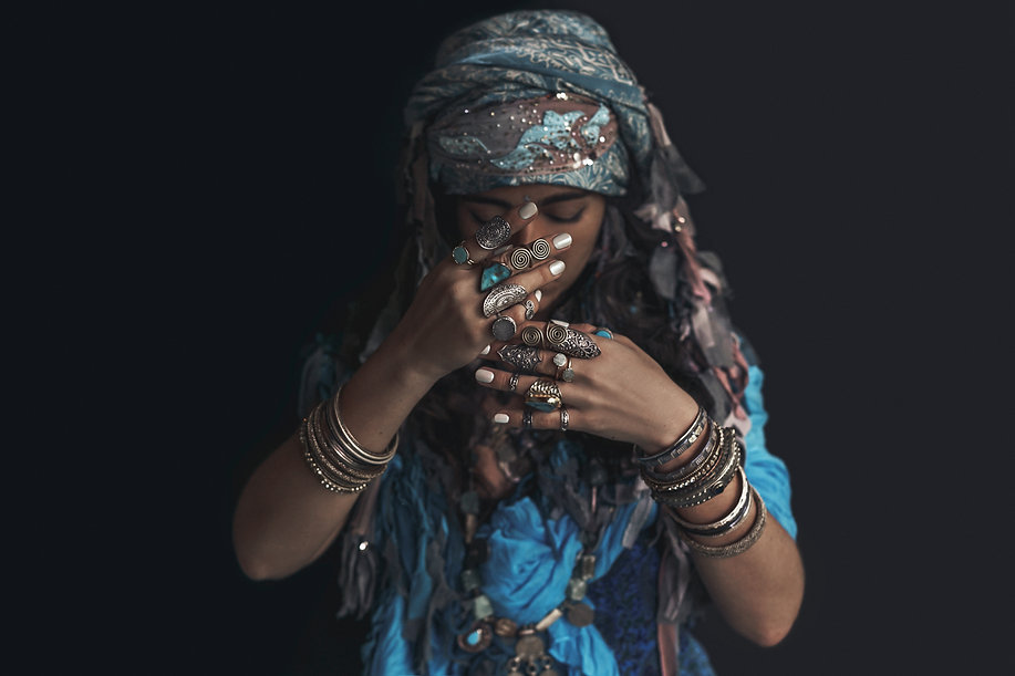 gypsy style young woman wearing tribal j