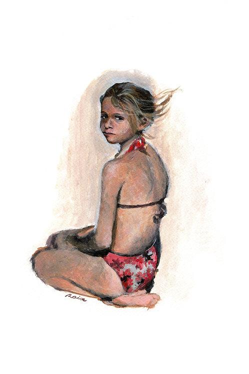 Noélie Raix - Jeune fille à genoux