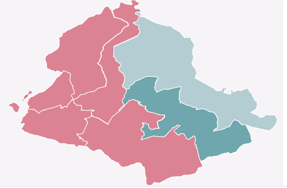 Mapa de votação em São Gonçalo no segundo turno: Dimas Gadelha em tons avermelhados e Capitão Nelson em tons esverdeados/Reprodução