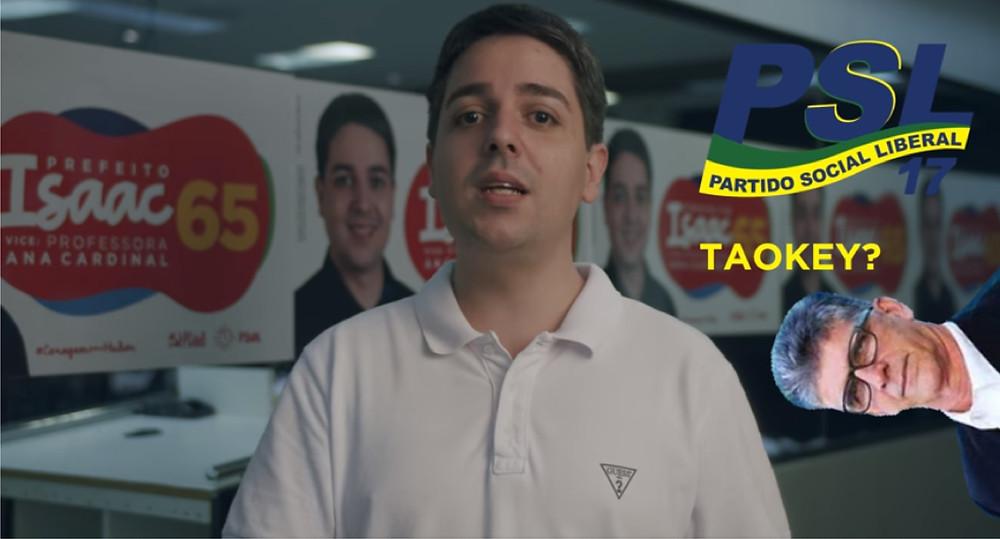 Isaac fez o vídeo do seu comitê, no Centro/Foto: Reprodução Facebook