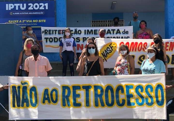 Ato de protesto realizado no dia 4 de fevereiro na Prefeitura/Foto: Divulgação