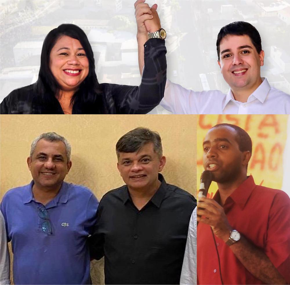 Chapas Isaac-Ana Cardinal (PCdoB-PSOL) e Dimas-Marlos Costa e um dos players mais conhecidos da esquerda gonçalense: Prof. Josemar Carvalho/Arte: Divulgação