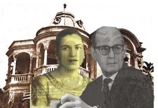 Tarsila e Drummond à frente do Palacete/Arte: Jornal Daki