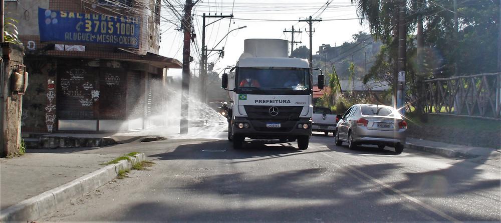 Ruas do Engenho Pequeno foram sanitizadas/Foto: Divulgação
