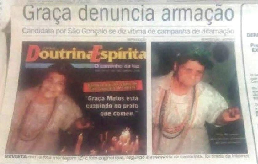 Reprodução de capa de jornal rodado no jornal O Povo fundamental para a derrota de Graça Matos para Aparecida Panisset em 2004. Exemplo de fake perfeita/Reprodução