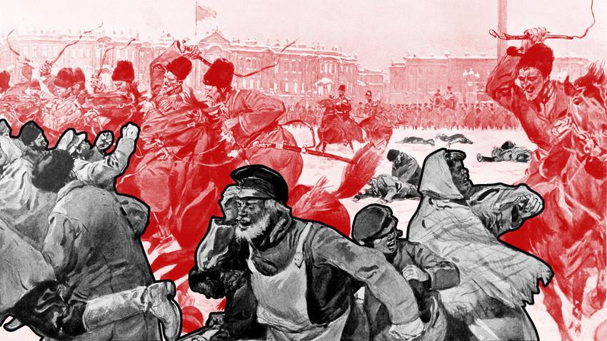 """Ilustração de """"Domingo Sangrento"""", Rússia/1905. Getty Images"""
