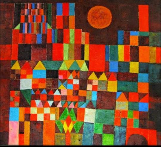 Foto da tela de Paul Klee: Castelo e sol