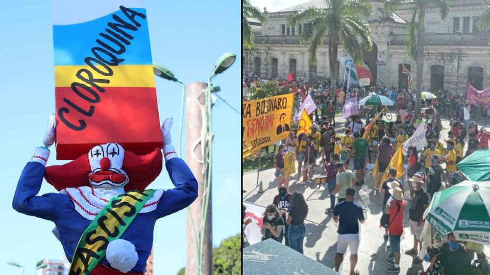 Atos contra Bolsonaro no dia 19 de Junho (Montagem)