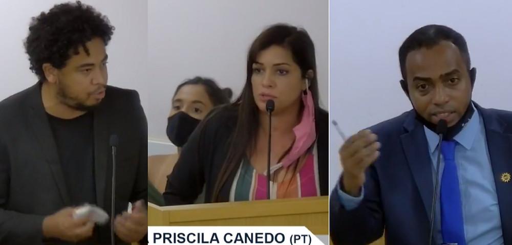 Romario Regis (PCdoB), Priscilla Canedo (PT) e Prof. Josemar garantiram espaço nas comissões/Foto: Reprodução TV Câmara
