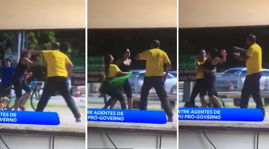 Ciclista parte para cima de bolsonaristas que agrediram enfermeiros no Planalto (Reprodução)